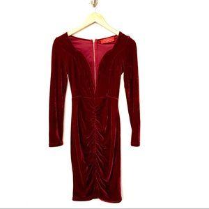 Akira Chicago Red Label Velvet Low Plunge Dress